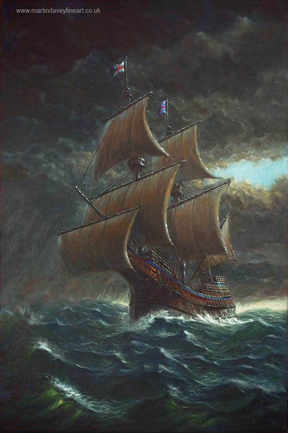 Voyage of the Mayflower ship in rough atlantic seas oil painting oil painting